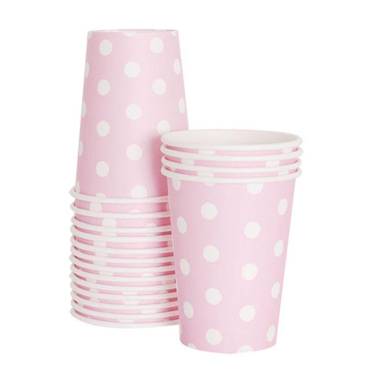 Πουά ροζ χάρτινα ποτήρια για πάρτυ