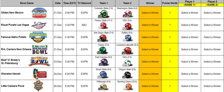 download a free 2013 NCAA college football bowl prediction pool manager spreadsheet