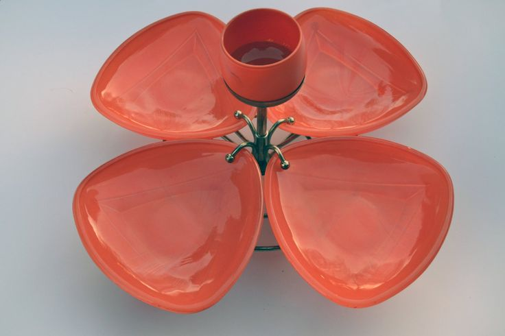 Mid-Century Modern Serving Tray - Lazy Susan Orange Glass Serving Tray - Vintage Serving Tray - Retro Serving Tray