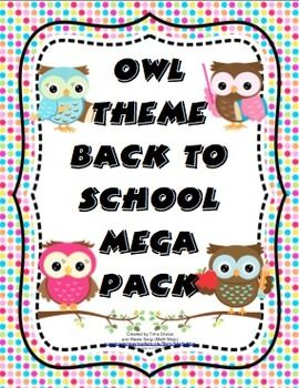 Back to School Owl Theme Mega Pack: This school year can be a hoot with this owl theme back to school pack! It will help you with all aspects of starting your school year. It contains printable owl themed room decor, open house activities and forms, vital first week forms and parent communication, and multiple first week of school activities and materials!