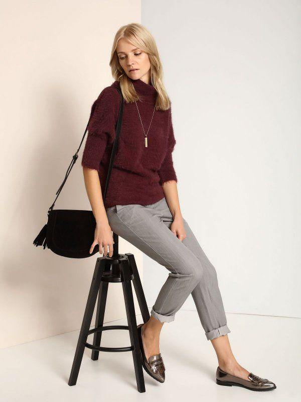 spodnie długie damskie proste, z zakładkami ciemnoszare - SSP2421 TOP SECRET