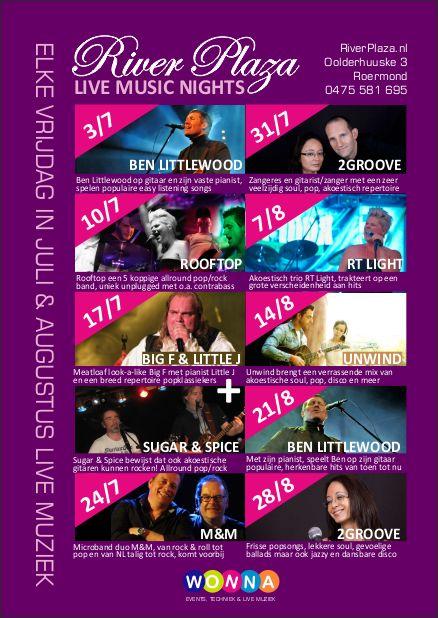 River Plaza Live Music Nights 2015, Roermond, elke vrijdag van juli en augustus live muziek op het terras van River Plaza. https://www.facebook.com/Wonna.nl/events
