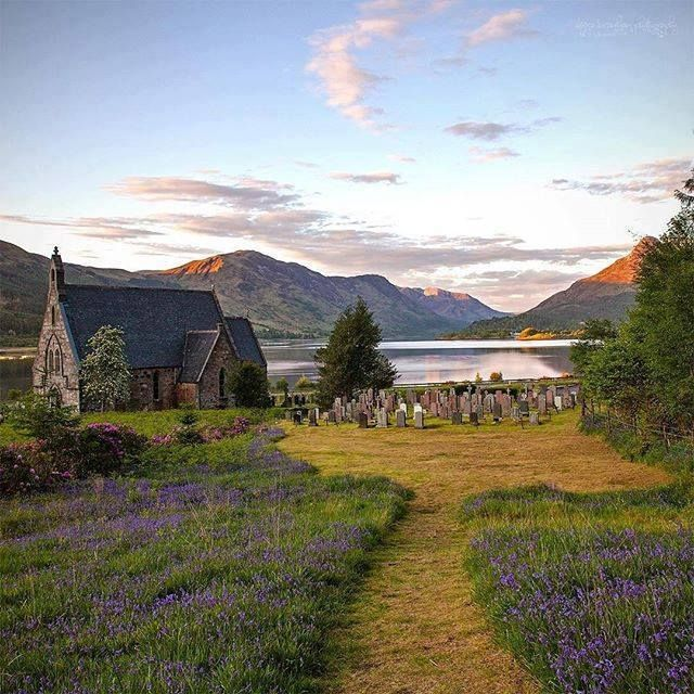 St. John's Church in Ballachulish on a summer day in the Scottish Highlands.