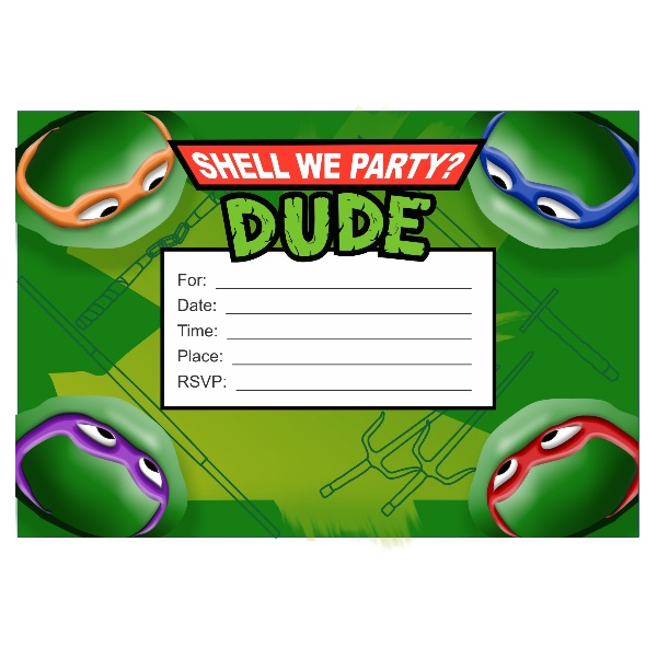 Teenage Mutant Ninja Turtles Birthday Invites as great invitations design