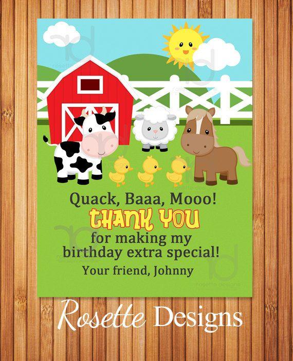 farm birthday thank you cards - farmland theme
