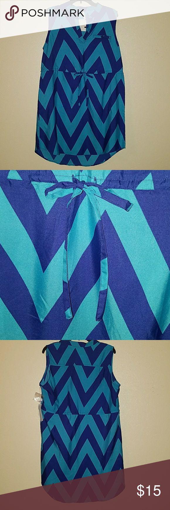 New dress New Sleveless two toned blue chevron design dress Dresses Mini