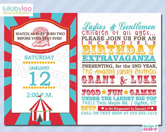 131 best Circus\/Carnival Theme images on Pinterest Party ideas - circus party invitation