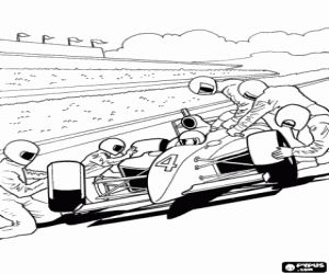 free pit stop in the hot wheels formula 1 coloring and printable page