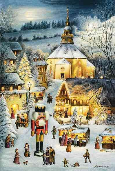 """FromBrück and Sohn (Printers in Meissen, Germany since 1793) a charming Advent Calendar of the center of Germany's Christmas industry:  Seiffen, depicting the Christmas Market including a Nutcracker and Pyramid. Art by G. Hildebrandt. This delightful advent calendar is 10"""" x 15"""".  Made in Germany.   Available from www.mygrowingtraditions.com"""