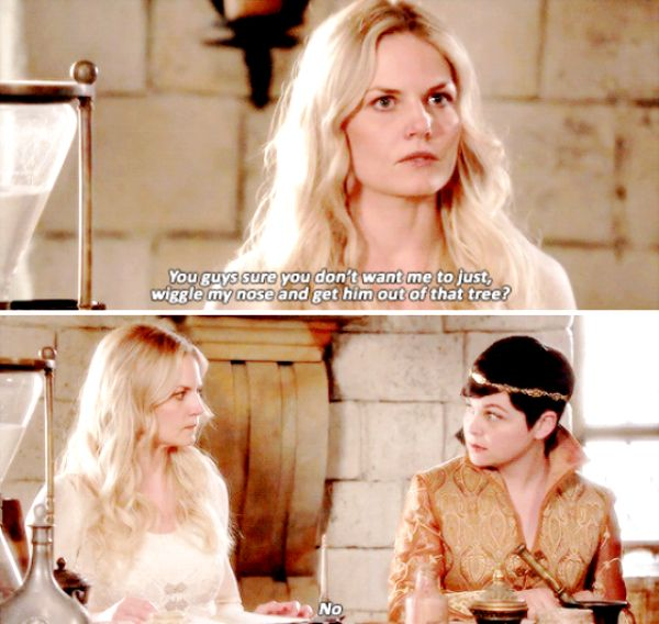 """You don't want me to just, wiggle my nose and get him out of that tree?"" - Emma and Mary Margaret #OnceUponATime"