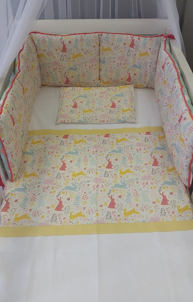 Our #SpringRabbits in #Pastel is perfect for any #BabyGril! The fabric is designed and printed exclusively for Studio Collection, and it can match with so many colours!   #BabyBedding #BabyLinen