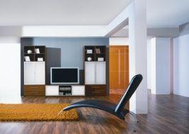 Стеллаж для гостиной KOMANDOR с тумбой под телевизор Topaz  Аллюминий натуральный.
