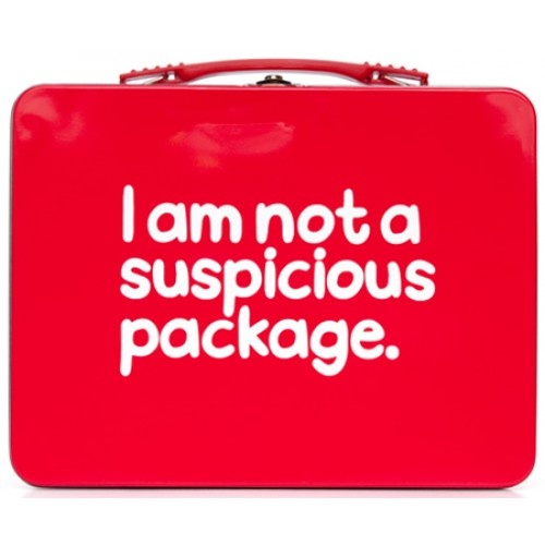 I Am Not A Suspicious Package Lunch Box Tin from Sarah J Home Decor. $19.95