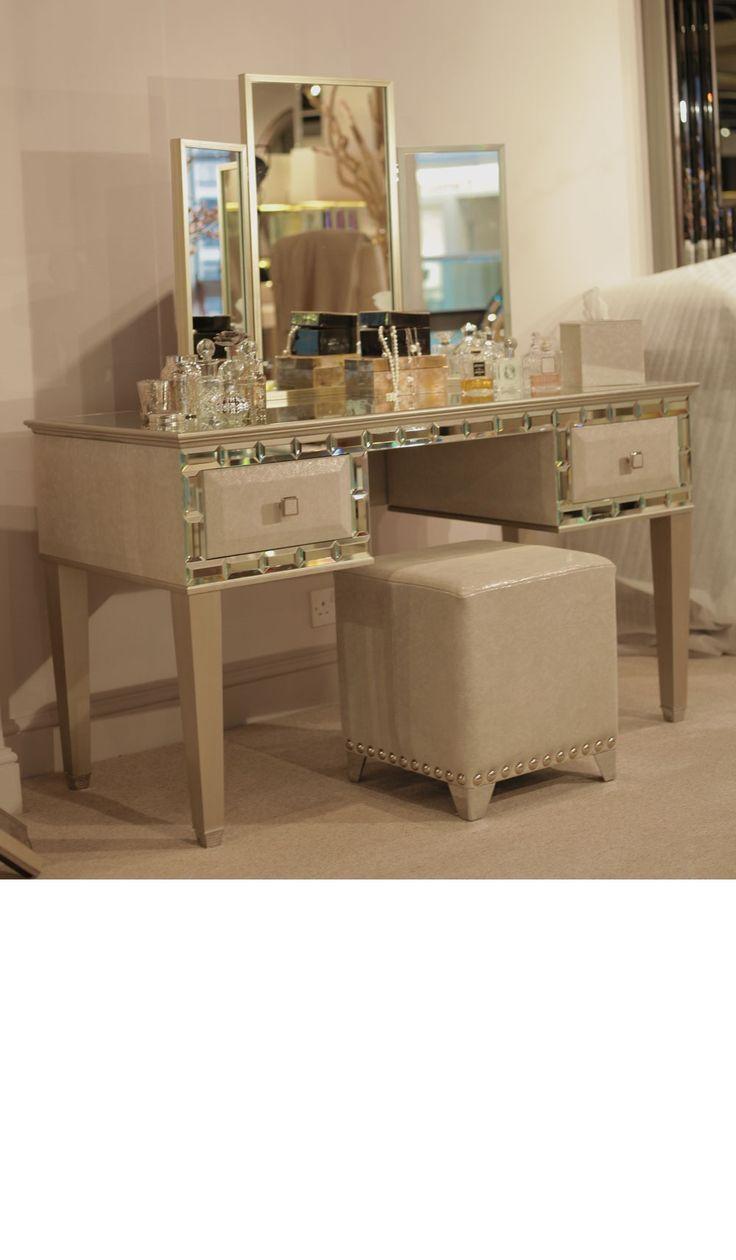 Schminktische Luxus Designer Tiffany Spiegel Elfenbein