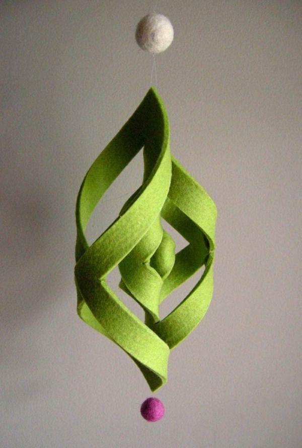 basteln grün christbaumschmuck holz papier filz