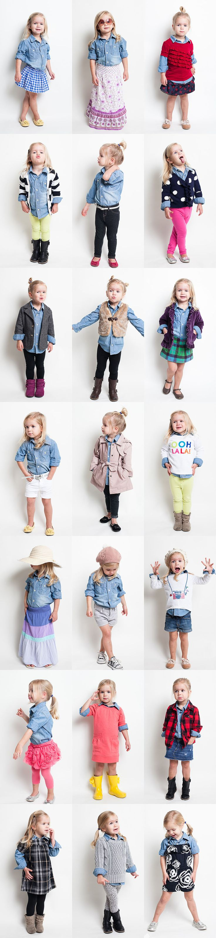 Toddler Chambray Shirt Project.  @C McManus look at her little yellow wellies with the flower! So cute.