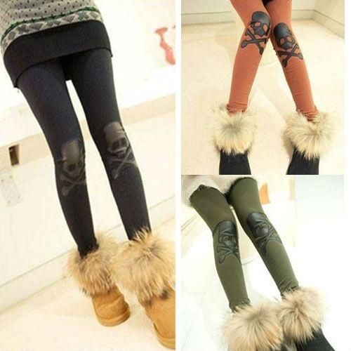Moda Feminina Couro joelho Rocha Leggings X-Bone crânio calças justas Calças YLG-0124