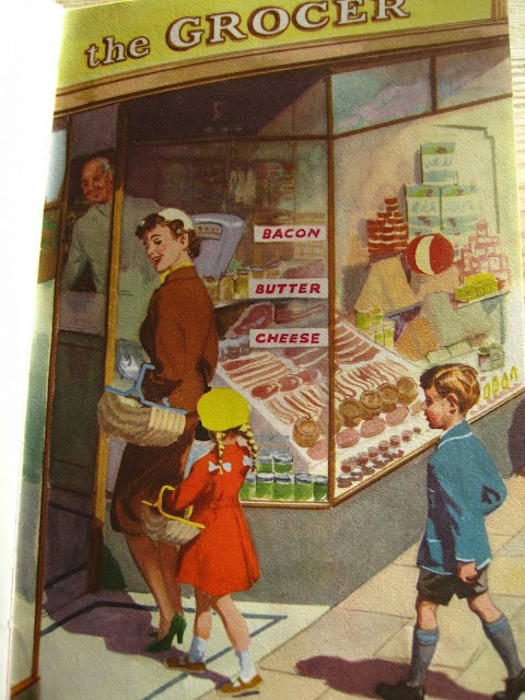 Ladybird - Shopping With Mother- I remember the days of the Grocer, the Fruit shop, and the grain store with not a supermarket in sight!