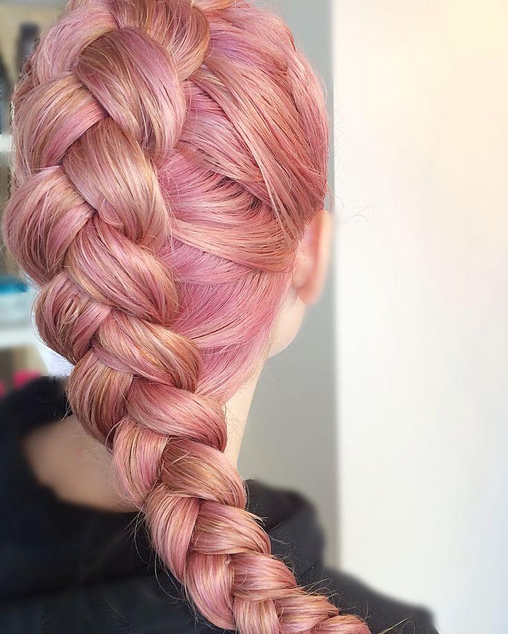 Pretty in pink! Long pink braided hair,  cotten candy yum!