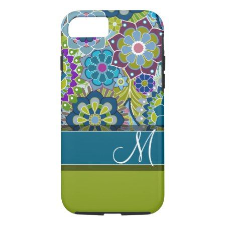 Colorful Retro Flowers with Monogram iPhone 7 Case - tap to personalize and get yours