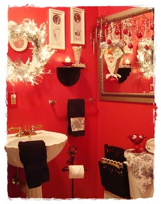 1000 images about decorating the bathrooms for christmas for Red black and white bathroom decor