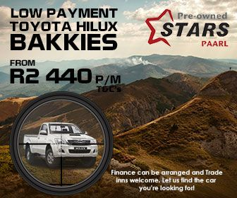 Buy a Toyota Hilux Bakkie in Paarl (South Africa) from Only R2440 per month. Terms and conditions apply.