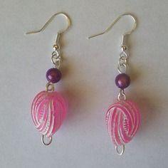 Boucles d'oreilles roses et violettes - créabijoux lolo - bijoux fantaisies