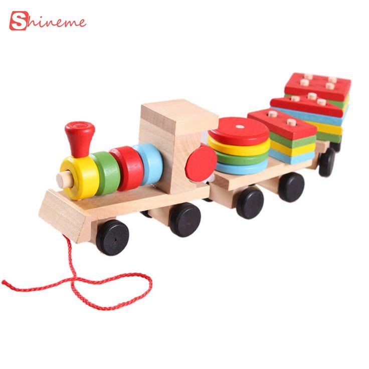 Modelos y juguete del edificio tren Bloques de construcción Educativos Para Niños de Madera de Apilamiento Sólido Niño Bloques de Juguete para Niños regalos