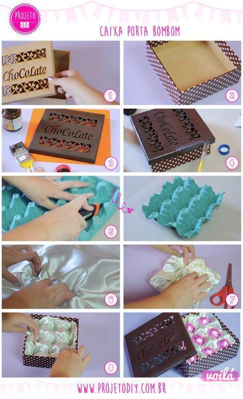 Upcycled chocolate box from egg carton - Caixa de bombom reciclada de caixa de ovo   Reciclagem   Faça Você Mesma   DIY