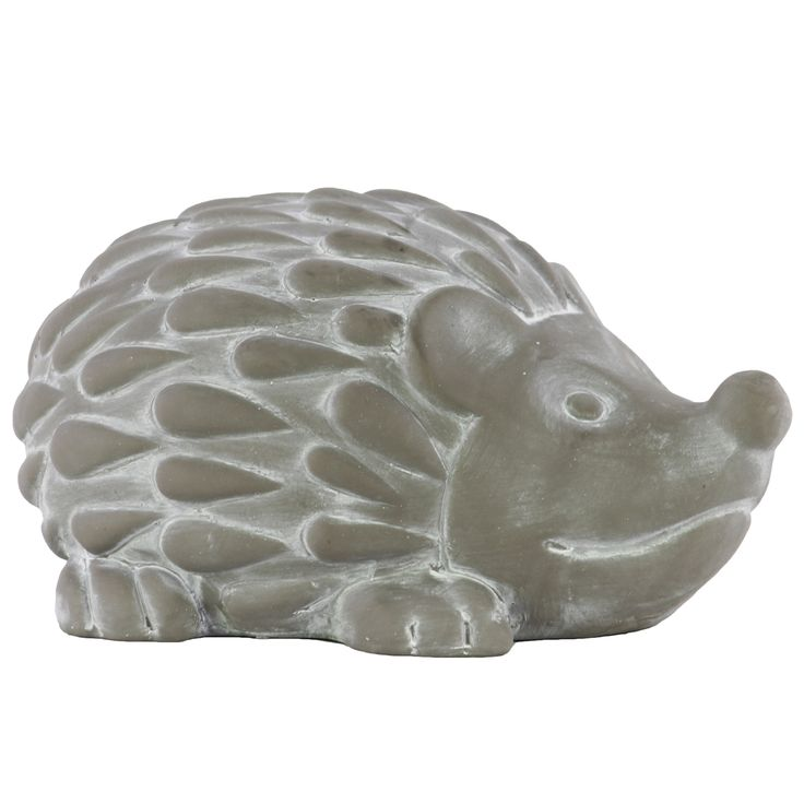 Adorn your living room, bedroom or office with this adorable cement hedgehog figurine. This concrete-finished solid hedgehog figurine features a matte grey color with magnificent carved details.