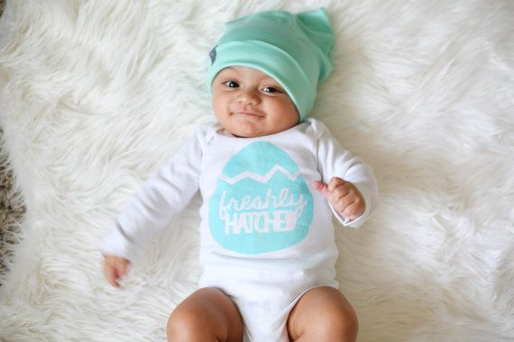 Non-candy Easter basket gifts: Freshly Hatched Baby Shirt by Plucky Mustard