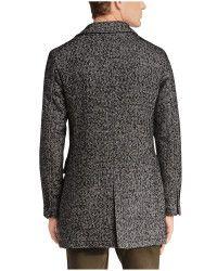 Boss orange Short Coat 'barrets' In Salt-and-pepper Look in Black for Men | Lyst