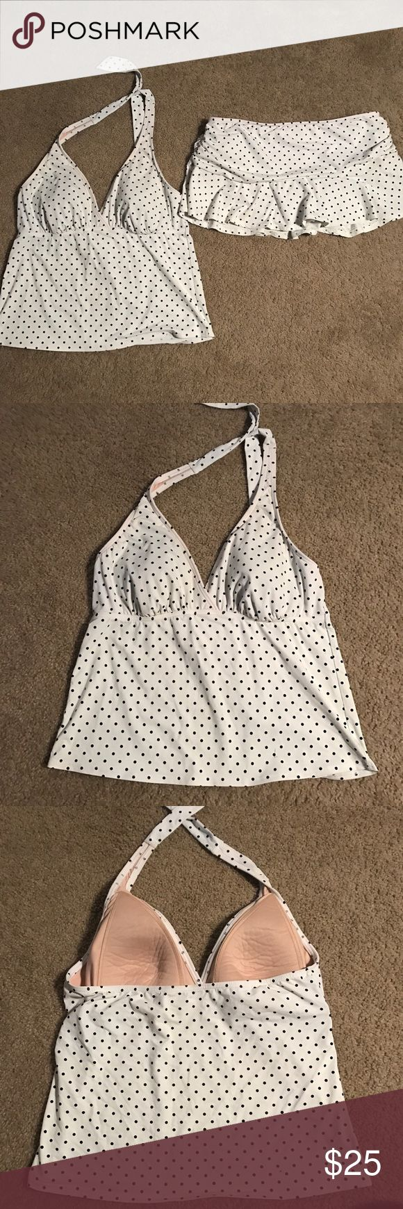 Land's End white and black polka dot swim suit Land's end black and white polka dot swimsuit. Tankini style. Bottoms are a skirt style bottom. Perfect condition, no flaws. Comment if you have questions! :) Lands' End Swim