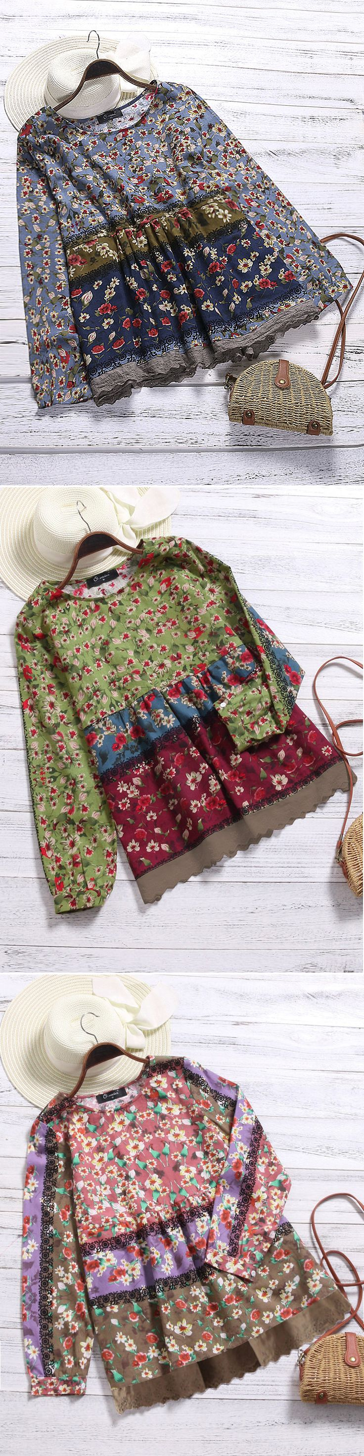 O-NEWE Vintage Floral Printed Patchwork Shirt For Women