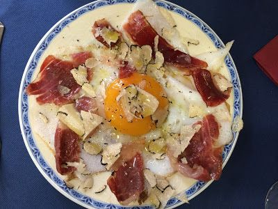 The ultimate bacon and eggs. Bellota jamon, goose egg and white truffle   Living in Sin: Madrid - El Cisne Azul for amazing mushrooms & other dishes!