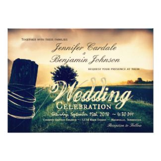 Country Field Fence Post Wedding Invitations #rusticwedding #countrywedding