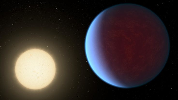 The super-Earth exoplanet 55 Cancri e, depicted with its star in this artist's concept, likely has an atmosphere thicker than Earth's but with ingredients that could be similar to those of Earth's atmosphere. Credit: Jet Propulsion Laboratory
