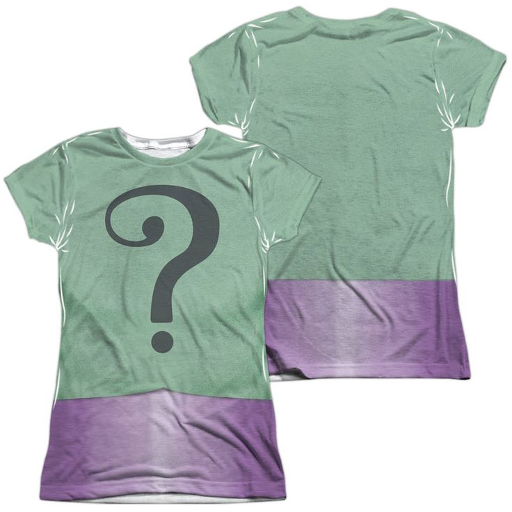 Batman Riddler Uniform White Womens Poly Capped Sleeve (Front & Back Print)