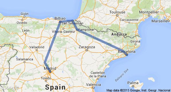 Northern Spain Itinerary Map