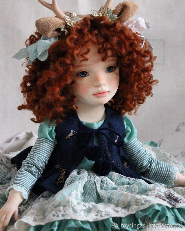 Купить Эни - морская волна, синий, рыжий, кукла, кукла рыжая, кукла ручной работы