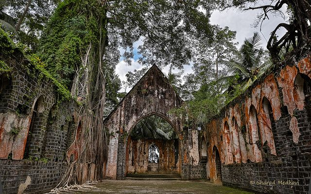 Ross Island, located about 2 km from Port Blair, was once the administrative headquarters of the Andaman & Nicobar Islands.