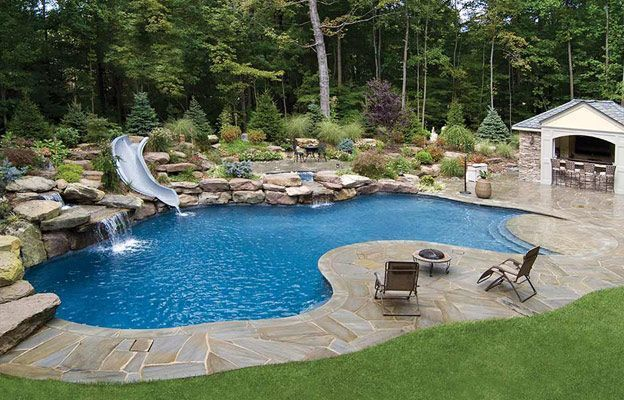Free Form The Run Of The Mill Backyard Swimming Pool Is Often Either A Plain Rectangle Oval Or A Kidne Pool Landscape Design Pool Landscaping Spa Landscaping