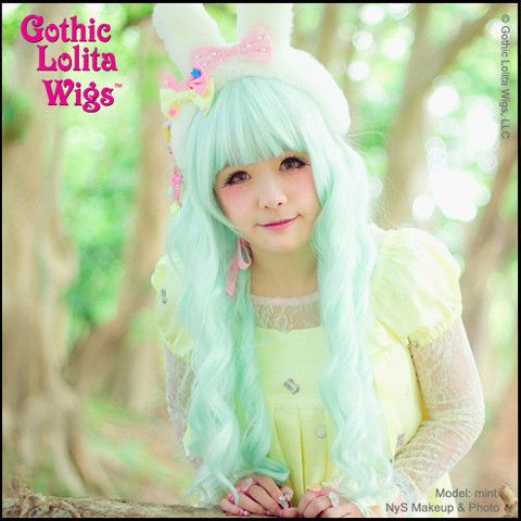 Gothic Lolita Wigs® Classic Wavy Mermaid Cascade Lolita™ Collection - Mint Minty – Dolluxe®