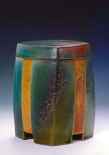 David Crane - Lidded ceramic jar in yellow and turquoise .... Keramikdose mit Deckel in Gelb und Türkis ..--