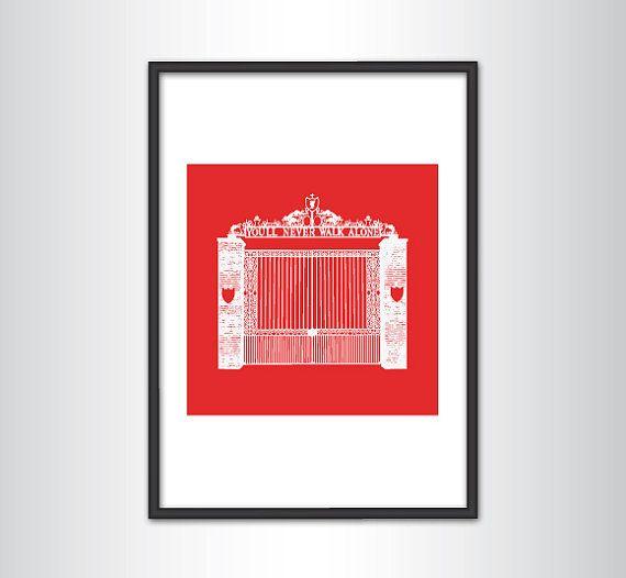 Liverpool FC Shankly Gates Print White by KieranCarrollDesign, €12.00