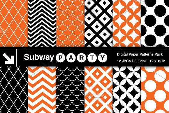 Halloween Retro Geo Patterned Papers. Patterns