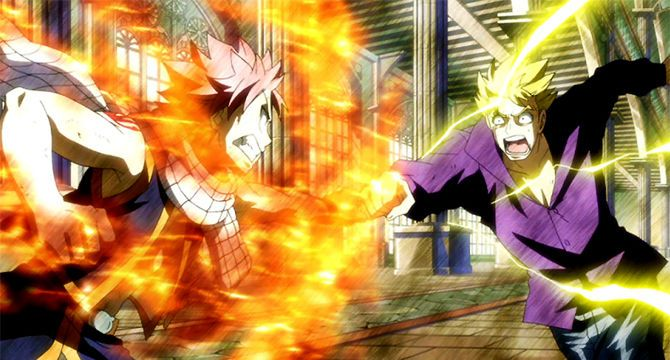 Fairy Tail Wiki, the site for all Fairy Tail and its Related Information ー Natsu and Laxus clashing.