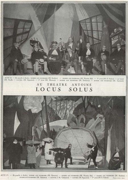 ((Illustration from Le Théâtre et Comoedia illustrée of the original theatrical production of Raymond Roussel's Locus Solus in 1923.)