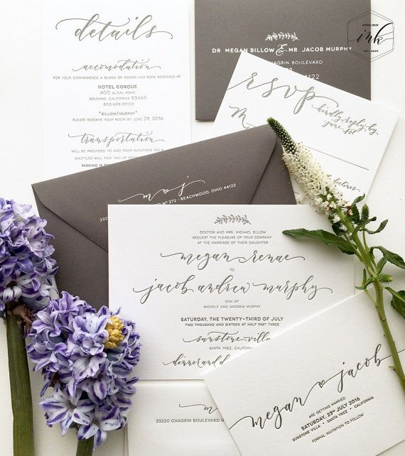 Original handwritten calligraphy design crafted to compliment your personal unique wedding fashion! There is nothing like a handwritten invitation done in beautiful, modern calligraphy. You can purchase a handwritten design to have printed with the printing company of your choice, or if you would like to order a full suite, please contact me for pricing details for letterpress, foil press, or digital flat printing. Convo me to find out more about having your invitations handwritten. Designs…