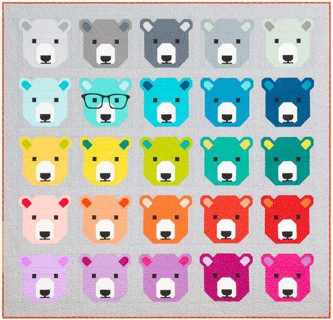 Bjorn Bear designed by Elizabeth Hartman. Features #konacotton. Fat quarter friendly. Pattern available for purchase (ohfransson.com) #konadesignerseries